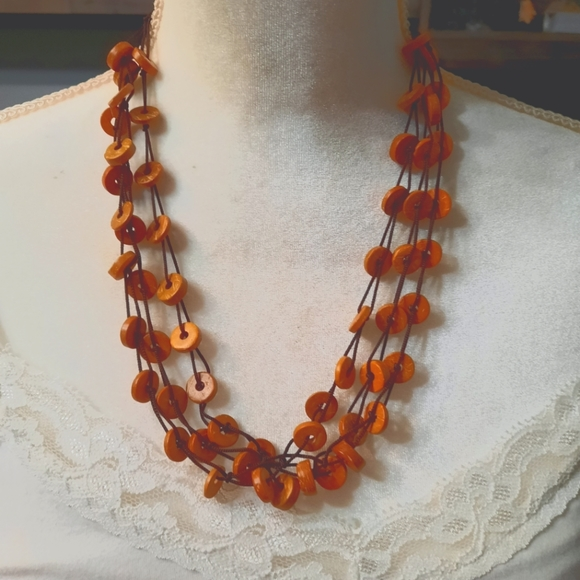 Paparazzi-wooden orange necklace set